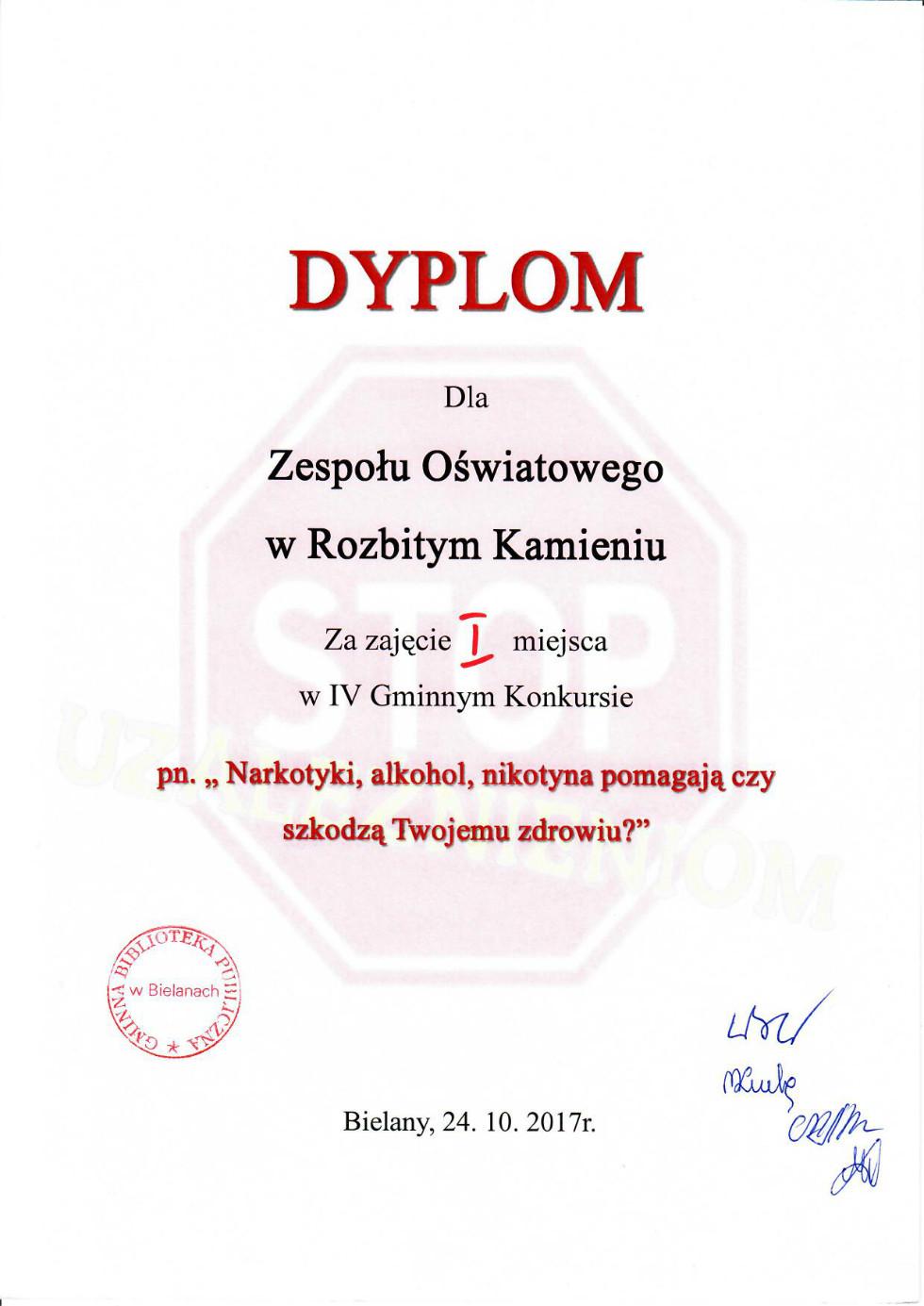 Dyplom za udzial w konkursie literackim